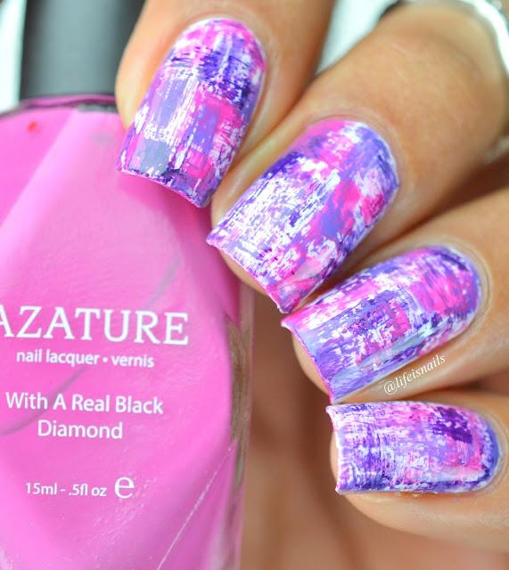 Pink and Purple Dry brush Nail art