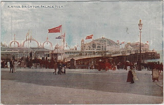 Vintage postcard of Palace Pier, Brighton, Sussex