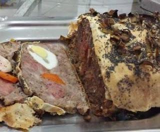 Foto do bolo de carne moída. Uma das receitas Réveillon 2015