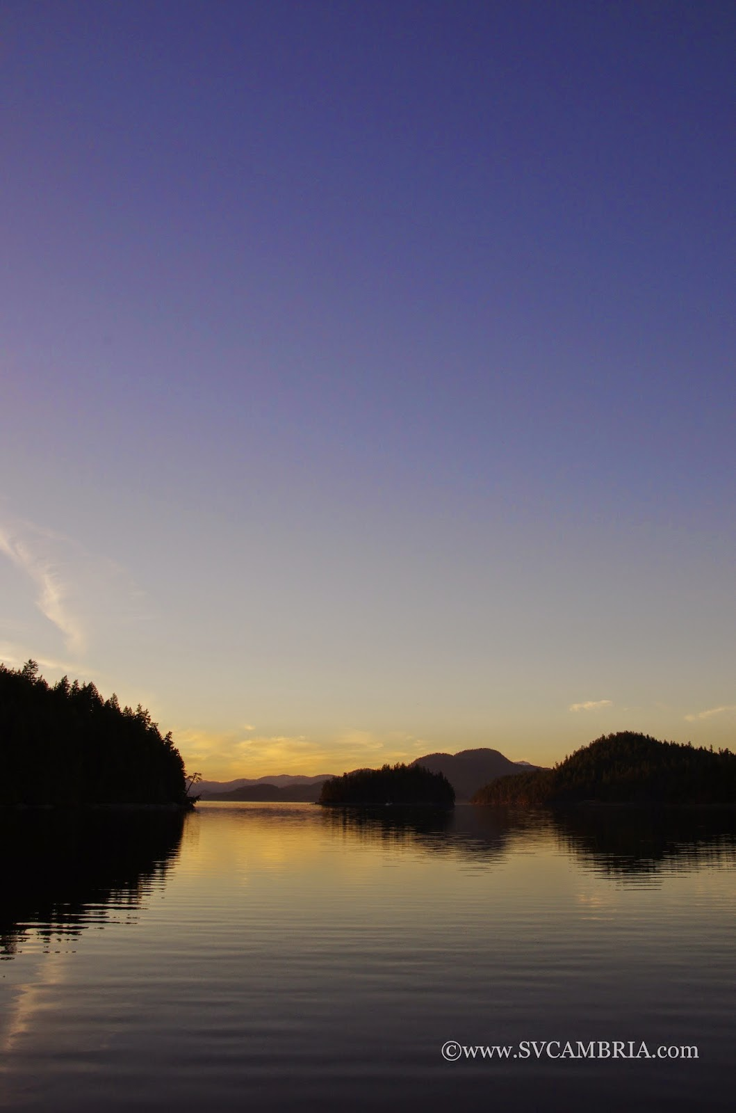 Sunset in Carrington Bay, Cortes Island.