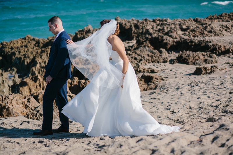 south florida beach wedding first look