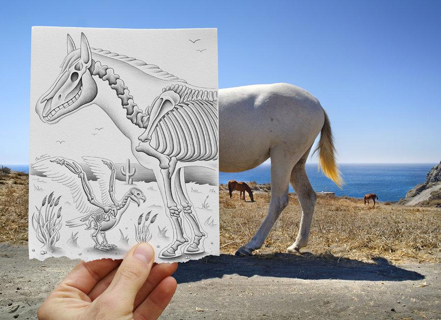 Ben Heine dari Belgium menghsilkan seni lukisan pensil yg digabungkan