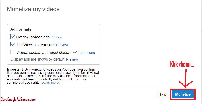 monetize youtube dan adsense