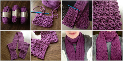 8 photos showing the progression of this fancy shell-patterned purple scarf from start (yarn skeins) to finish (modeled by a person).