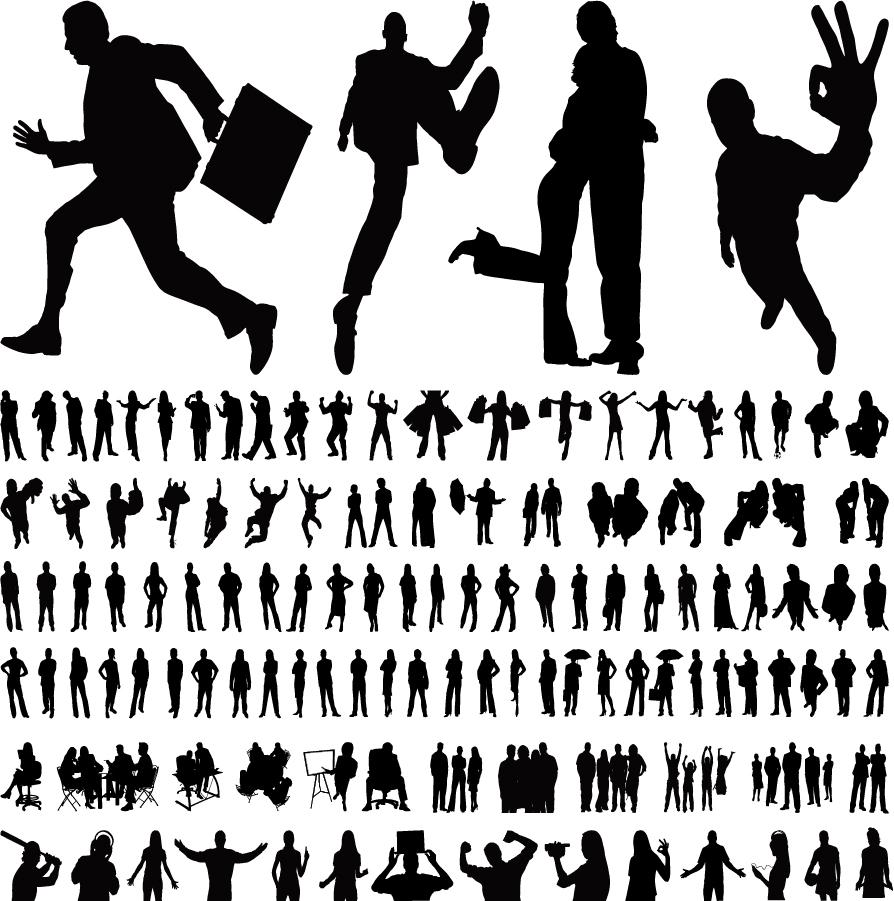 楽しい動作を表現したシルエット characters silhouette vector イラスト素材
