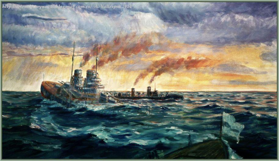 Estado actual del óleo del hundimiento del SMS Lutzow -extracto