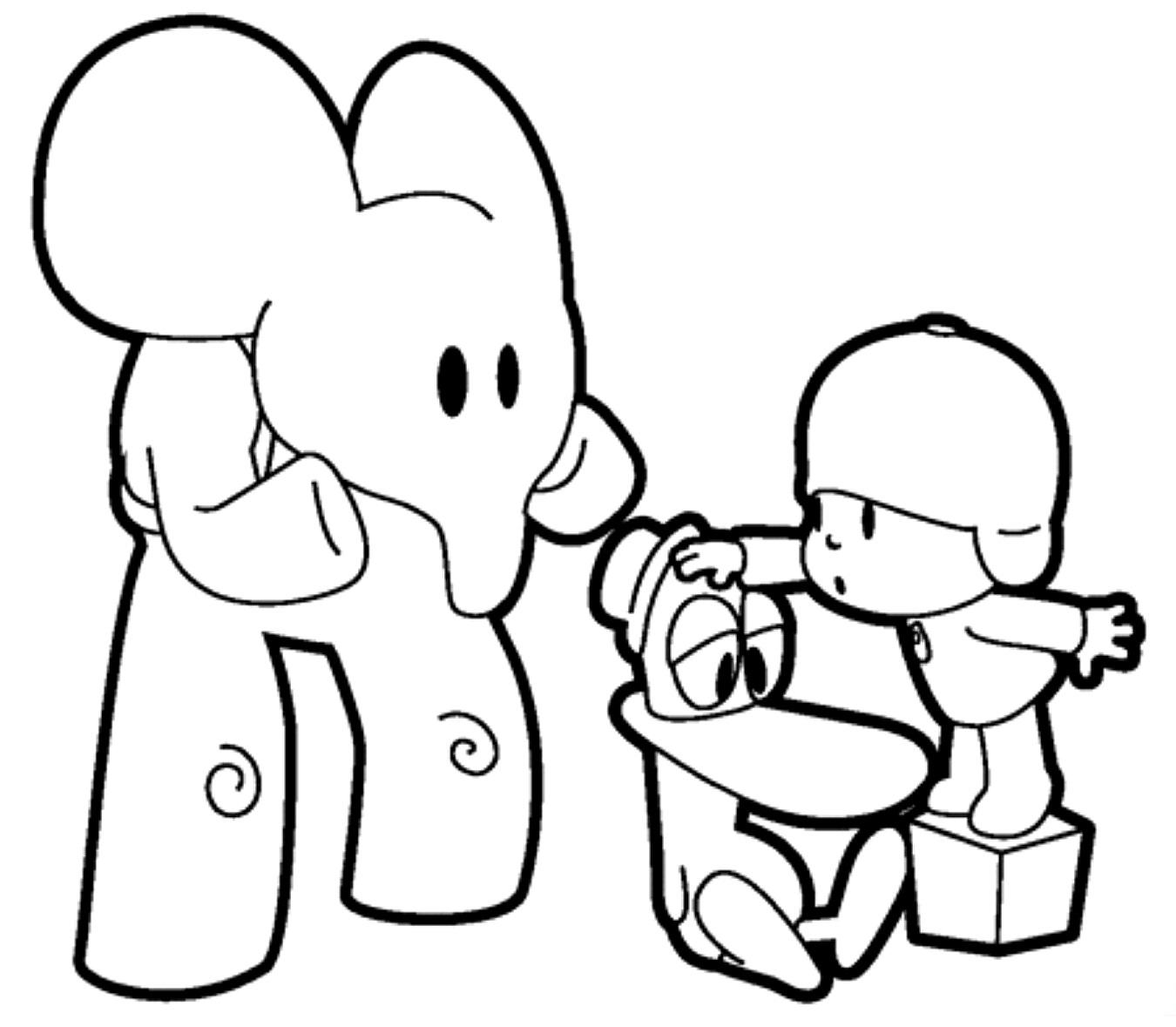 Dibujo Del Elefante Y Pocoyo Para Colorear