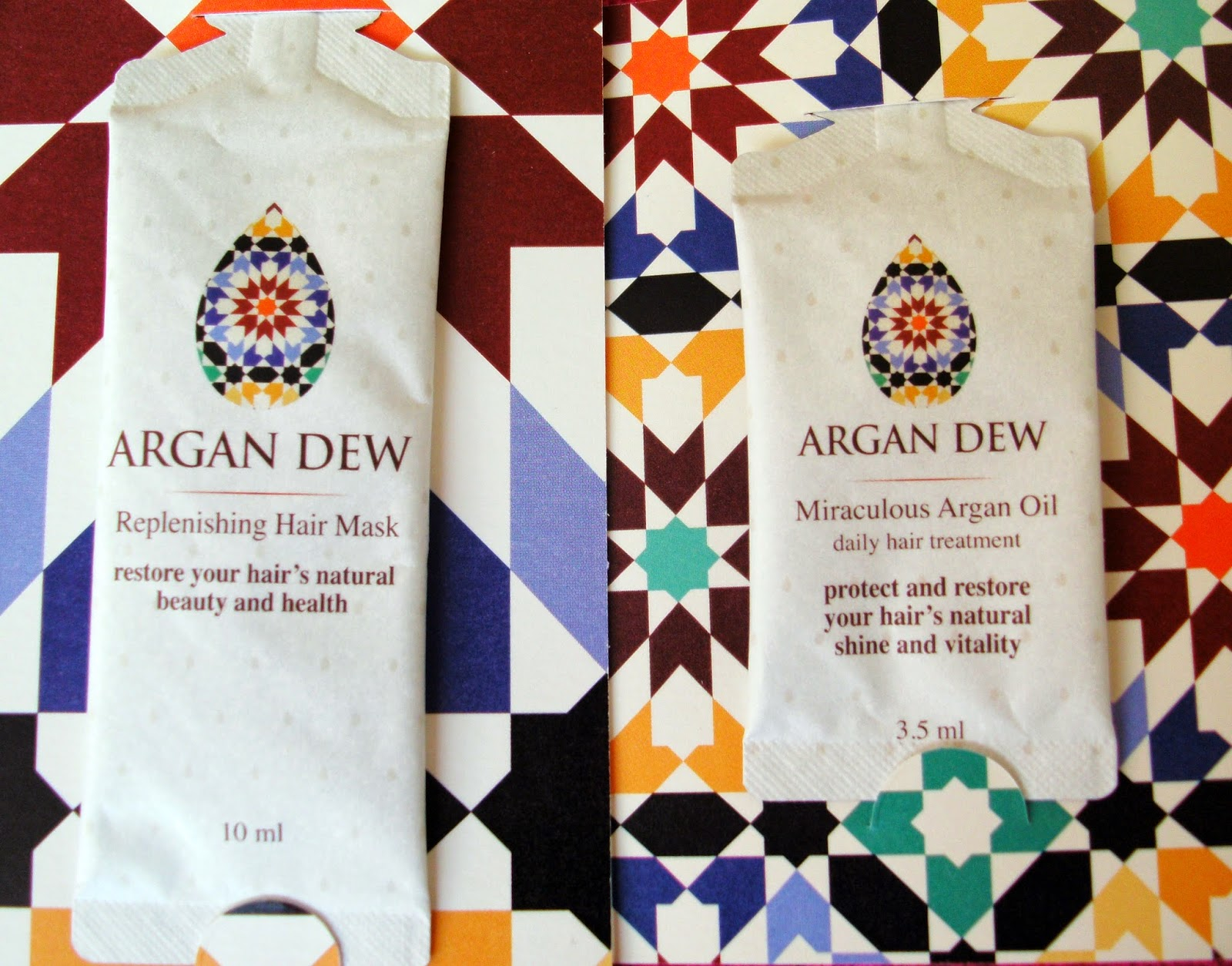 Argan Dew Replenishing Hair Mask and Miraculous Argan Oil Daily Hair Treatment Samples