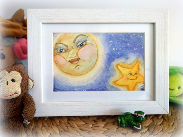 ACEO Watercolour artwork: Moon and star by Elizabeth Casua, tHE 33ZTH oRDER. Small paintings