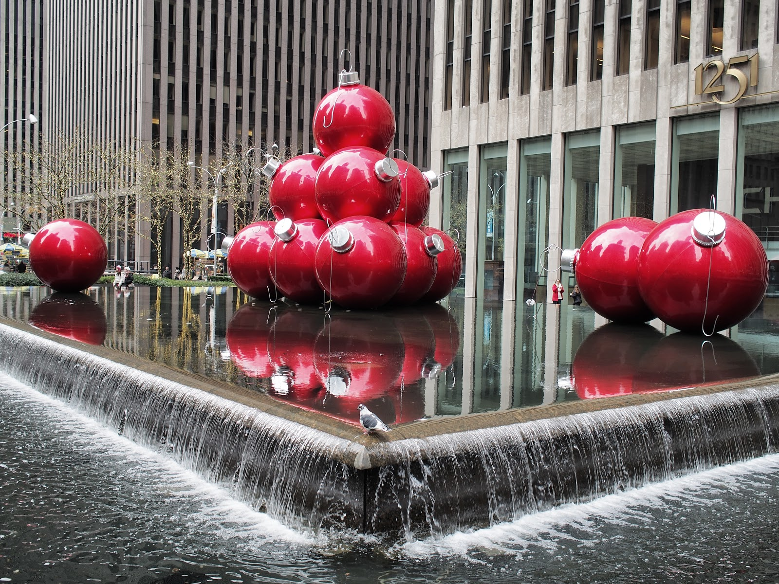 The Red Ornaments of 1251 Avenue of the Americas #redornaments #holidays #besttimeoftheyear ©2014 Nancy Lundebjerg