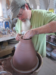 Each pot is wheel thrown, hand carved and brightly glazed.