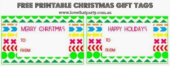 FREE Printable Christmas Gift  Tags: Geometric & Bright via Love That Party. www.lovethatparty.com.au