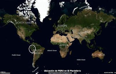 Ubicación de PERU en El Planisferio, vista aérea, BING