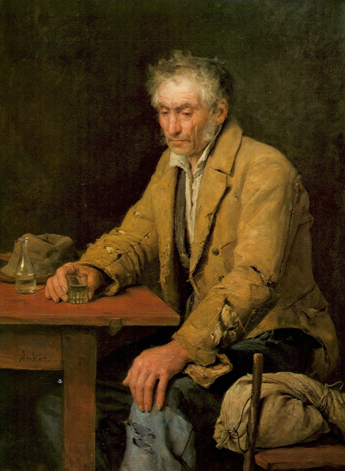 The Drinker, Albert Anker, painting review