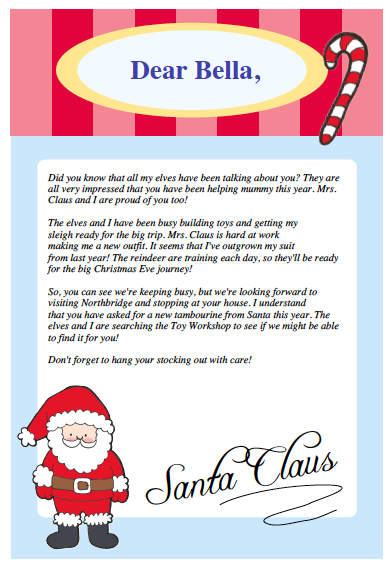 tell the After School Care Kid's that I teach, the letter from Santa ...
