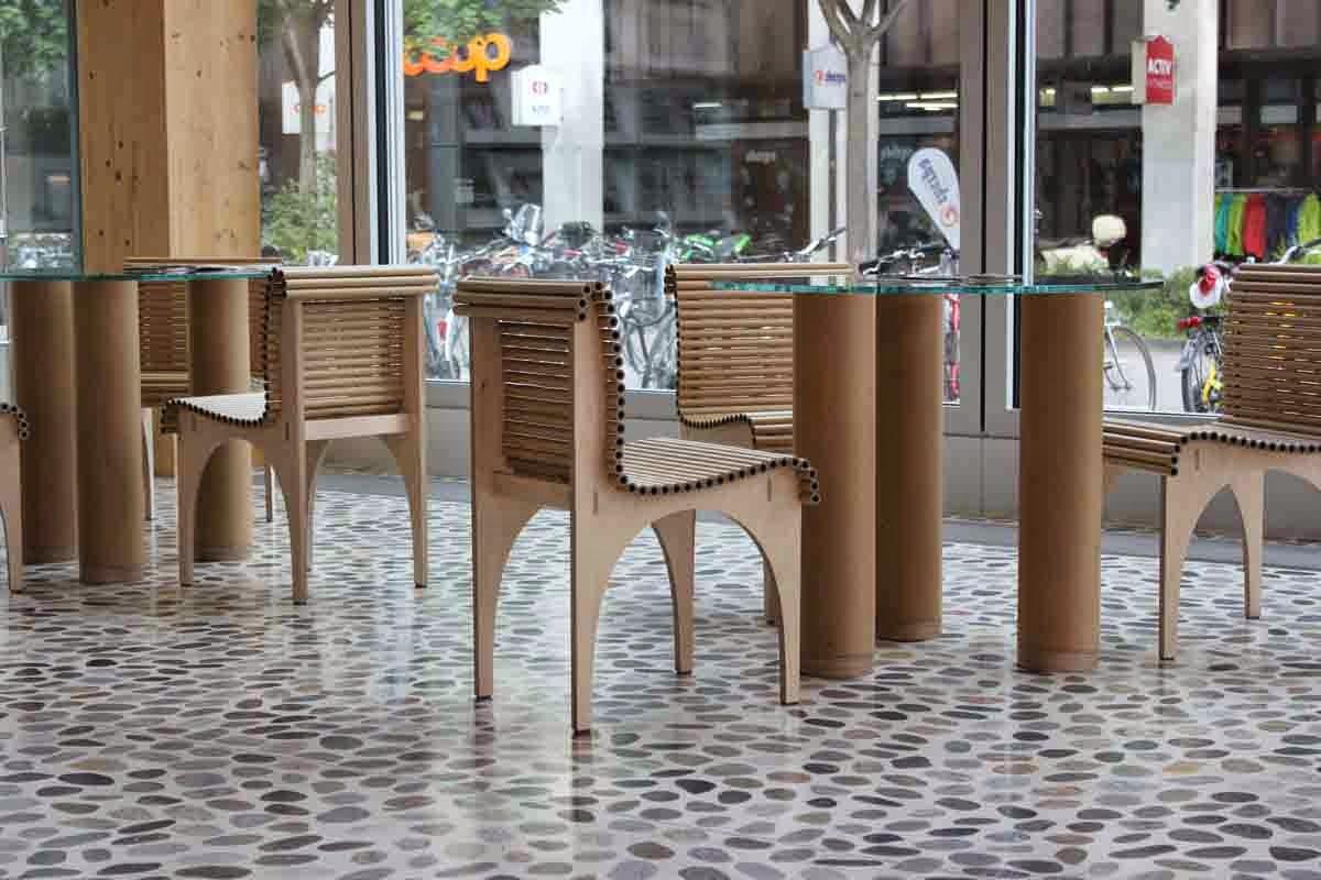 Lobby, Cardboard Tube Furniture By Shigeru Ban.