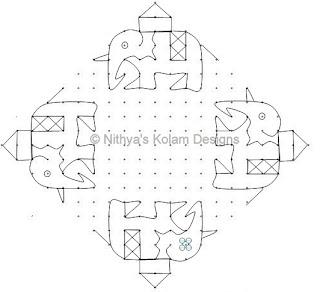 3 Elephant Kolam