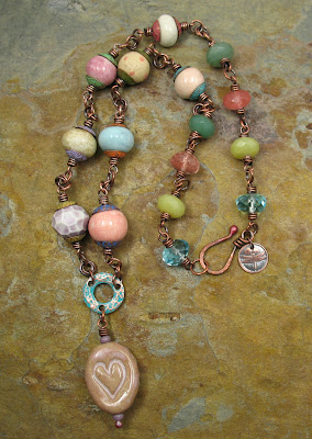Pastel Ceramic Art Bead Necklace by Libellula Jewelry