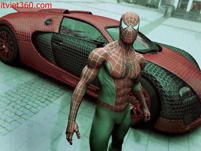 Những hình ảnh hài hước vui nhộn nhất, người nhện siêu nhân và xe oto nhện