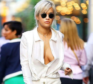 Rita Ora spotted bra less hot boobs side boobs visible in New York City
