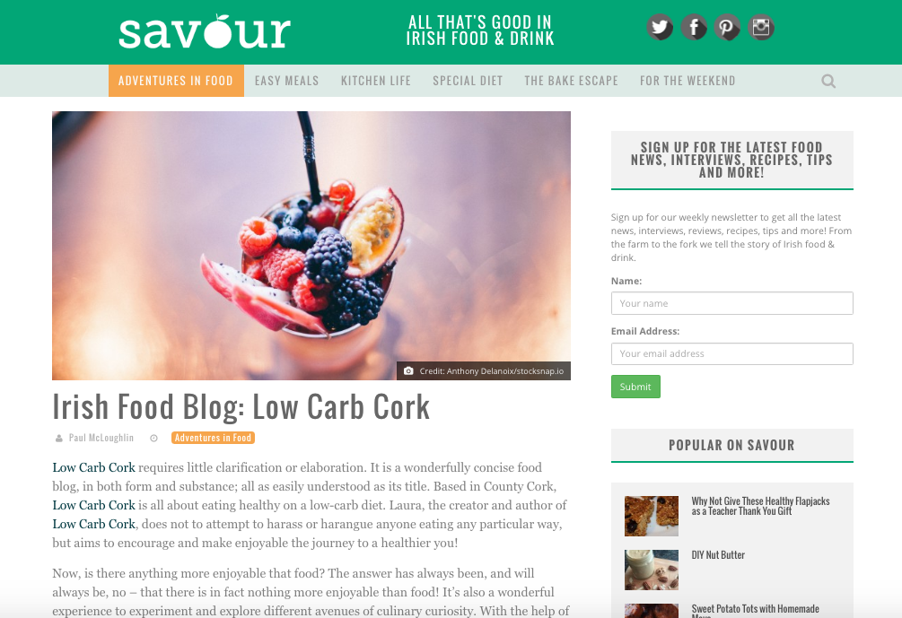 Featured on savour.ie!