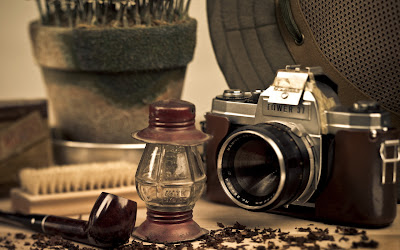 Vintage Photography Camera Lantern and Pipe Photo Desktop Wallpaper