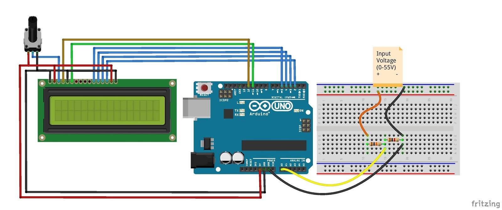 Arduino voltmeter dc dvm