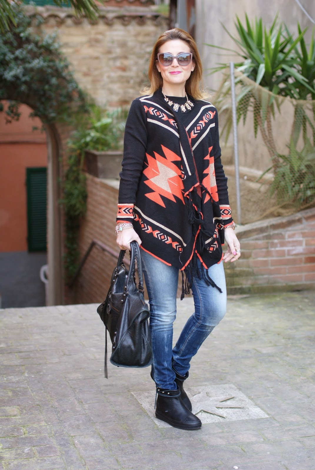Ruco Line boots, Ariel boots, aztec cardigan, Fashion and Cookies, fashion blogger