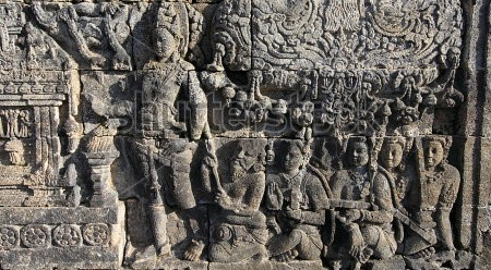 This is a another Panel at Borobudur in Indonesia. The carving follows an Indian motif.