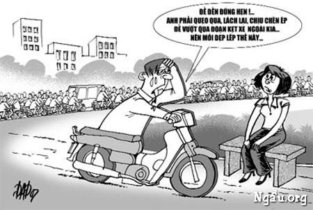 Biếm họa về tình hình kẹt xe như hiện nay