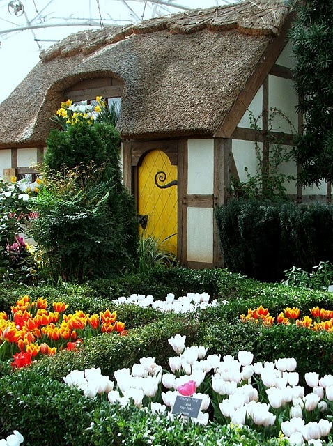 Yellow Front Door Fairytale Cottage Cute Thatch Roof Tulips