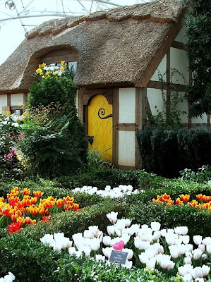 yellow front door, fairytale cottage,  cute cottage, thatch roof,, tulips,european cottage