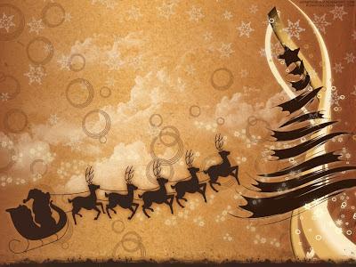 Wallpaper - Trineo y Renos - Fondo de Pantalla de Navidad
