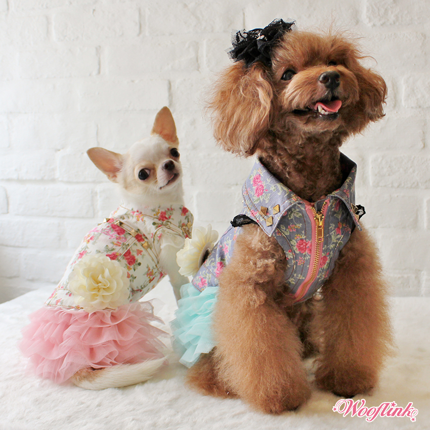 Wooflink hip designer dog clothes flower denim vest Dog clothes design your own