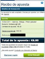 Apuestas Rosberg Valencia-Málaga Roberto Soldado Fútbol– Liga BBVA William Hill