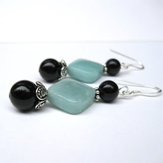 Amazonite Onyx and Bali sterling silver earrings by MarlaFayeCreations on Etsy