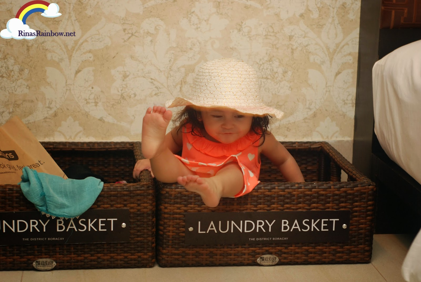 toddler in basket