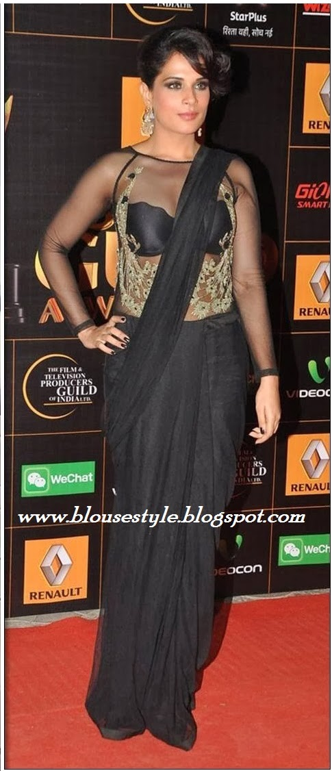 BLACK PLAIN SAREE WITH ATTACHED NET BLOUSE