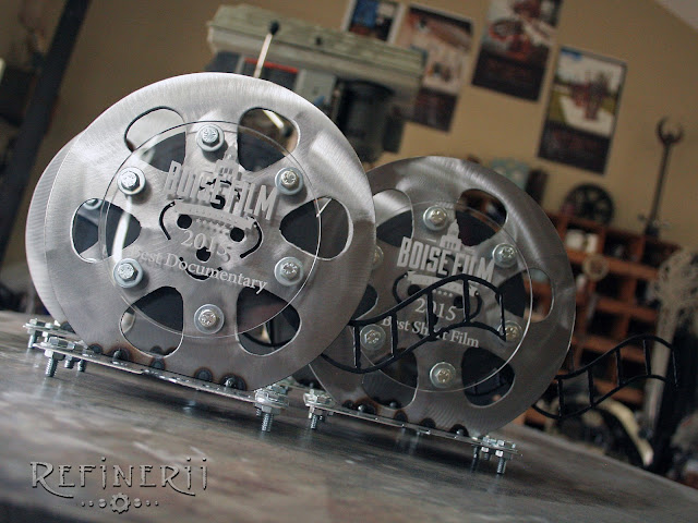 custom steel film reel trophies