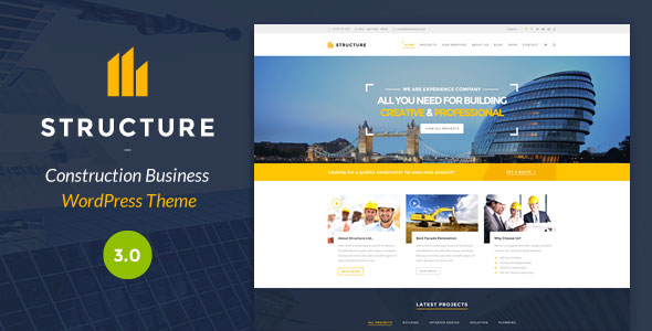 Free Download Structure V3.0 Construction WordPress Theme