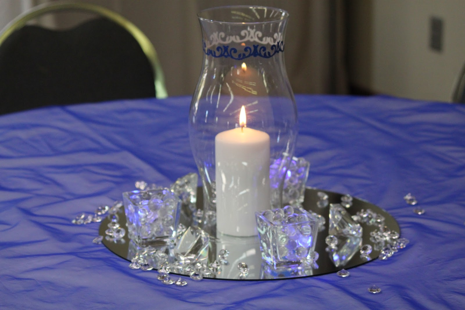 Blue royal and silver wedding centerpieces photo video