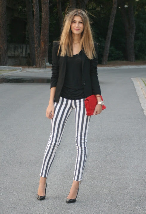 A Trendy Life. Styling Black u0026 White Vertical Striped Pants.