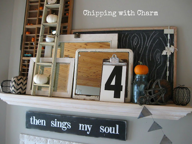 Chipping with Charm: Fall Mantel 2015...www.chippingwithcharm.blogspot.com
