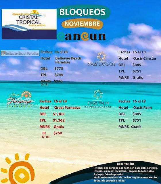 Hoteles en Cancún 3 días 2 noches todo incuido en Noviembre