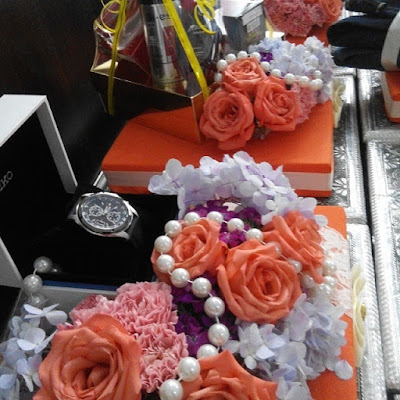 hantaran fresh flower oren ungu purple