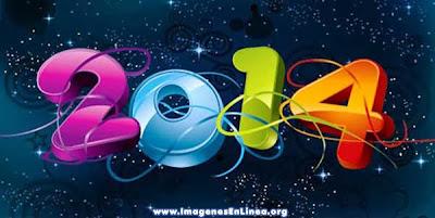 Feliz año nuevo 2014, tarjetas con letras en 3d