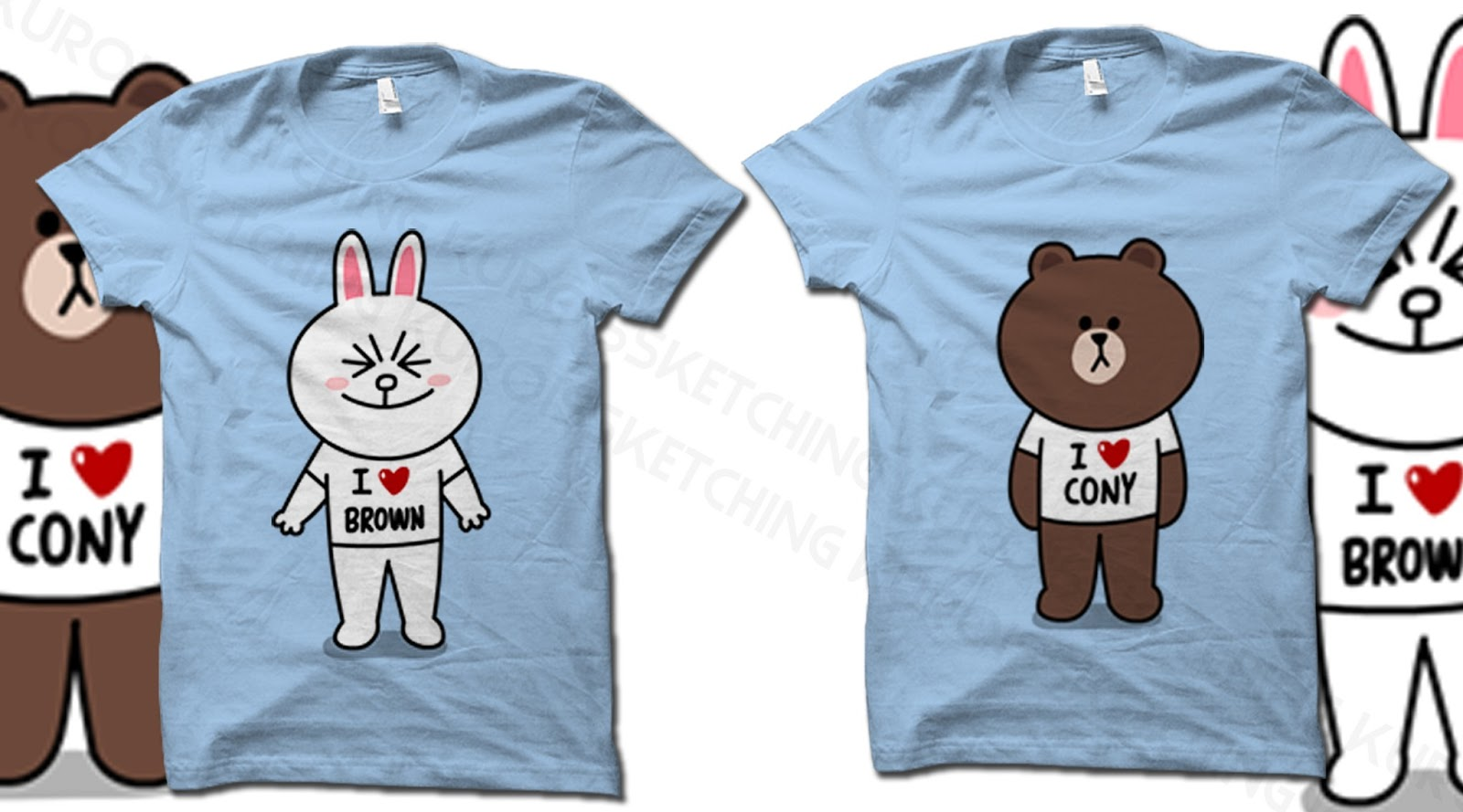 line brown cony couple t shirt kuro is sketching. Black Bedroom Furniture Sets. Home Design Ideas