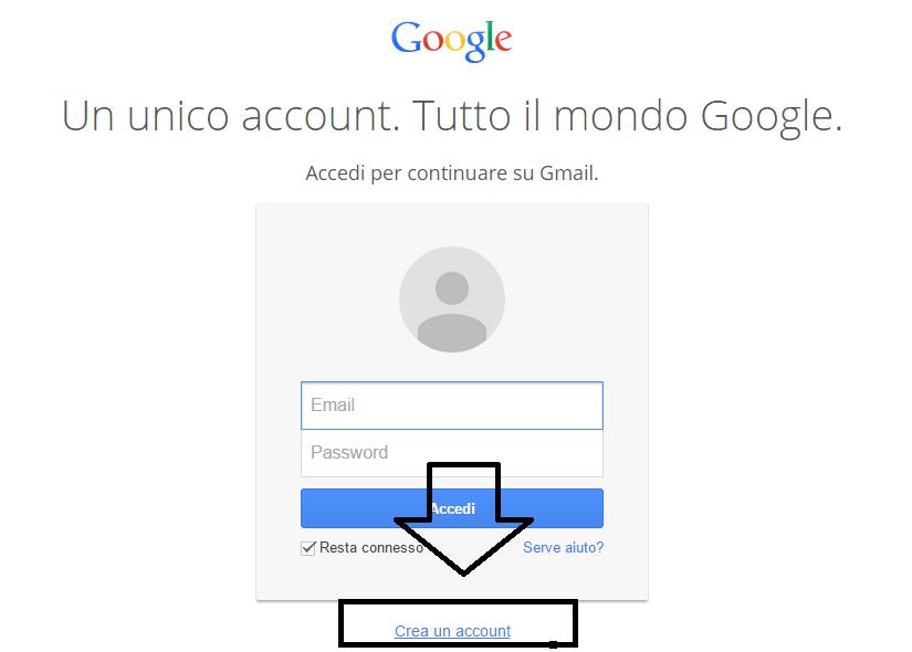 Creare un account gmail