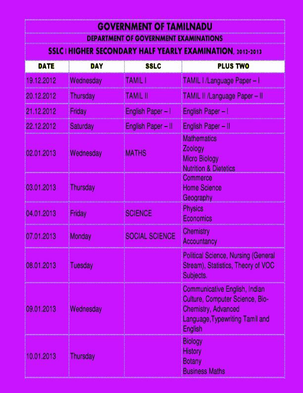 necessary tamilnadu sslc hsc half yearly time table in jpg