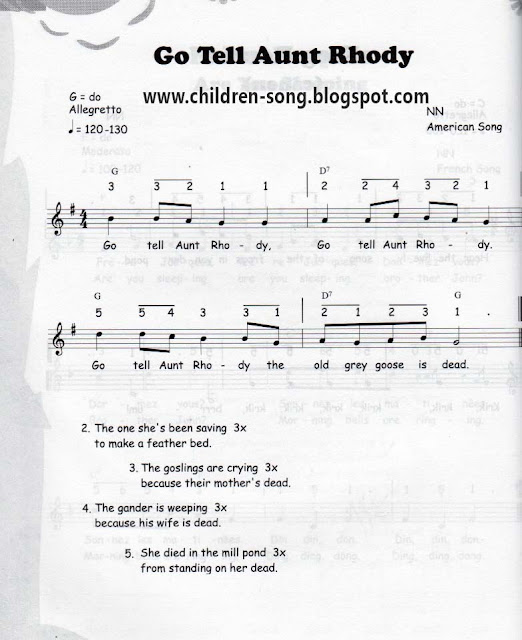 Go Tell Aunt Rhody Song with Notes and Chords